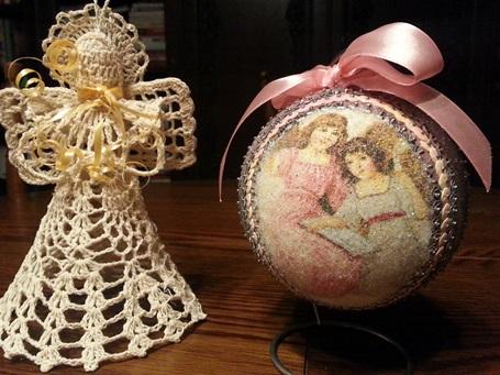 Christbaumschmuck aus Styropor - Weihnachtskugeln hand made